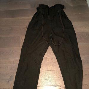 Zara green paper bag pants